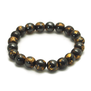 Gold-Leaf Hematite Stretch Bracelet