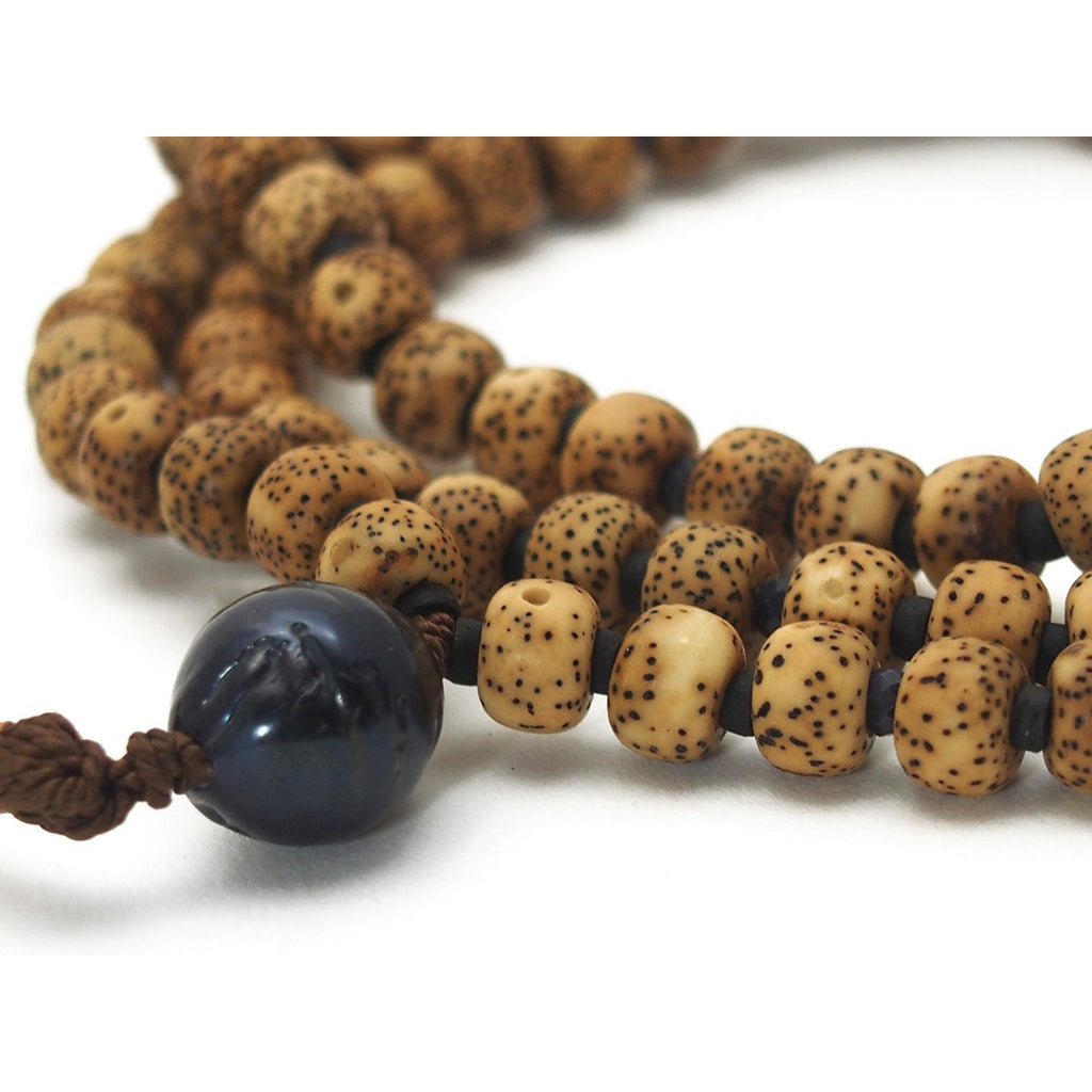 Lotus Seed Mala with Fresh Water Pearls and Sapphire Spacers