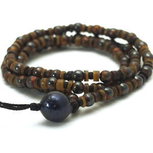Gold Leafed Magnetic Hematite Half Mala with Fresh Water Pearl Guru Bead