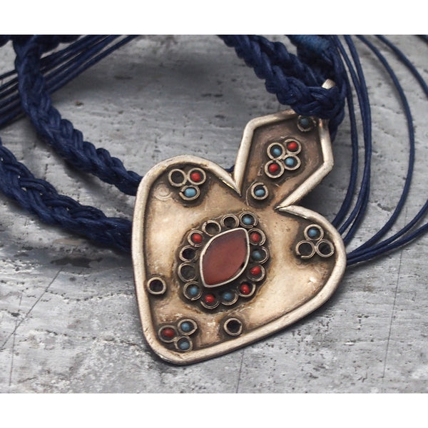 Turkmen Inlaid Carnelian Turquoise and Coral Asyk