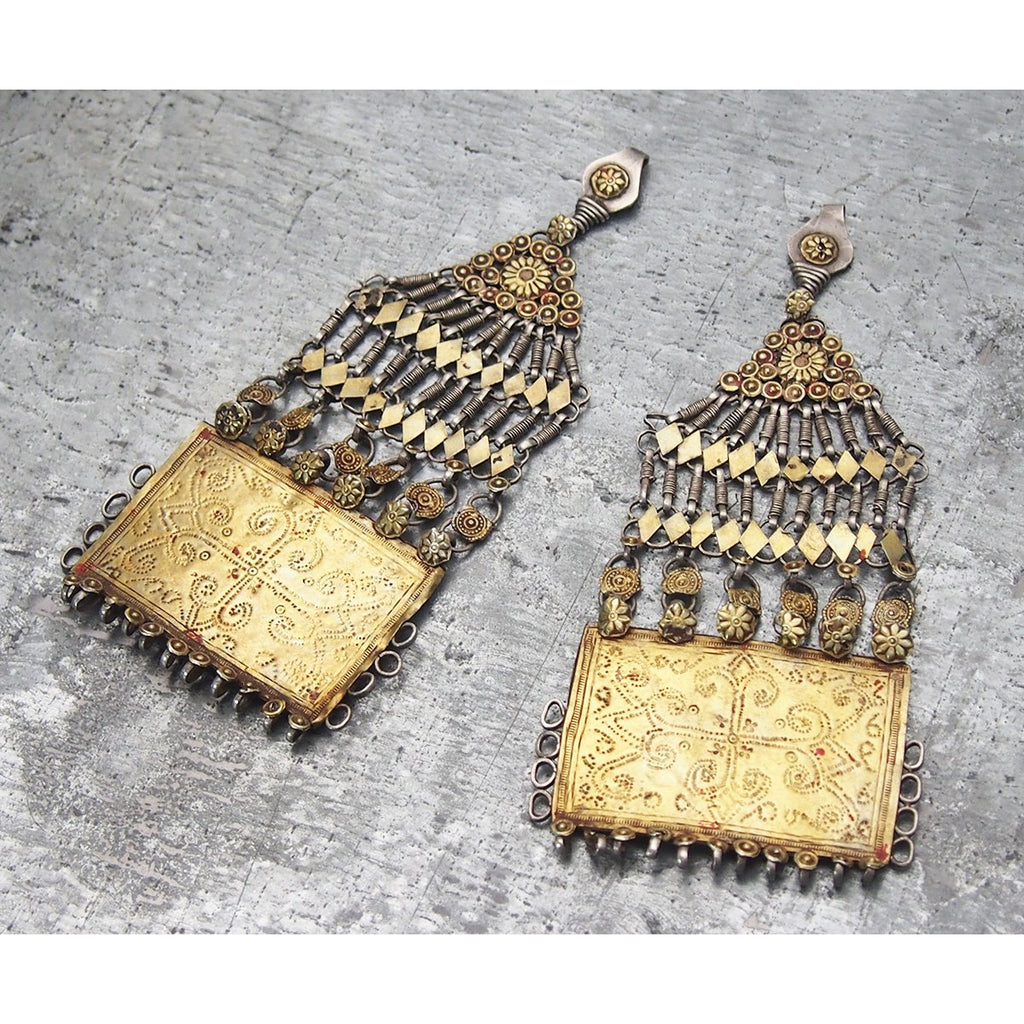 Waziri Antique Temporal Ornament Set in Silver with Gold Wash