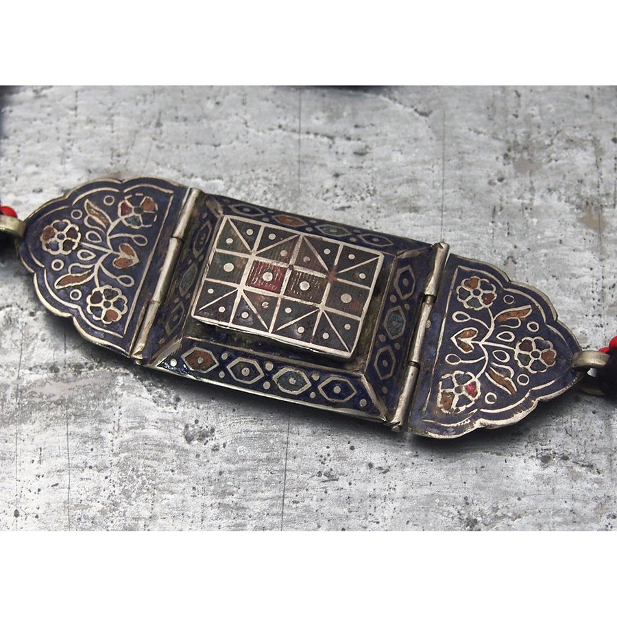 Antique Silver Enameled Bazuband (Upper Arm) Koranic Amulet Case 1