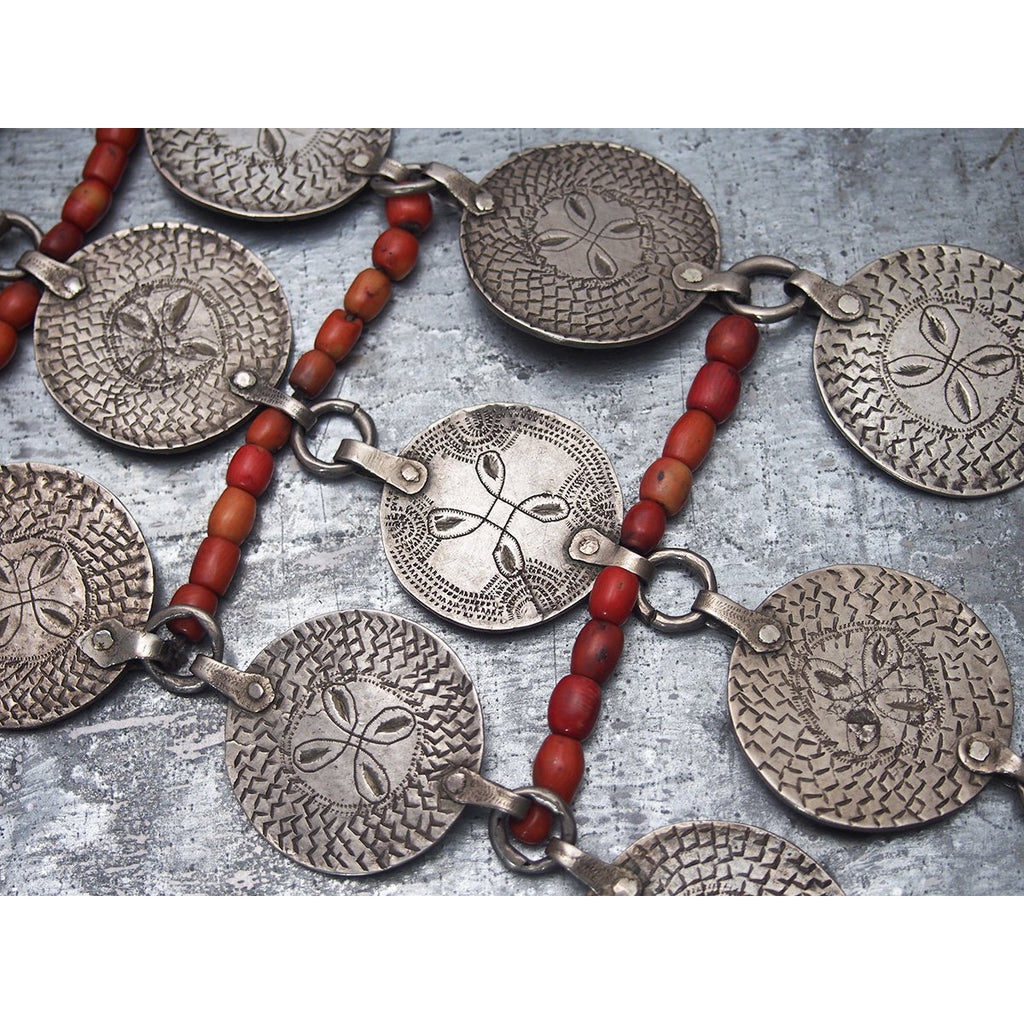 Antique Tribal Silver and Coral Massive Centerpiece