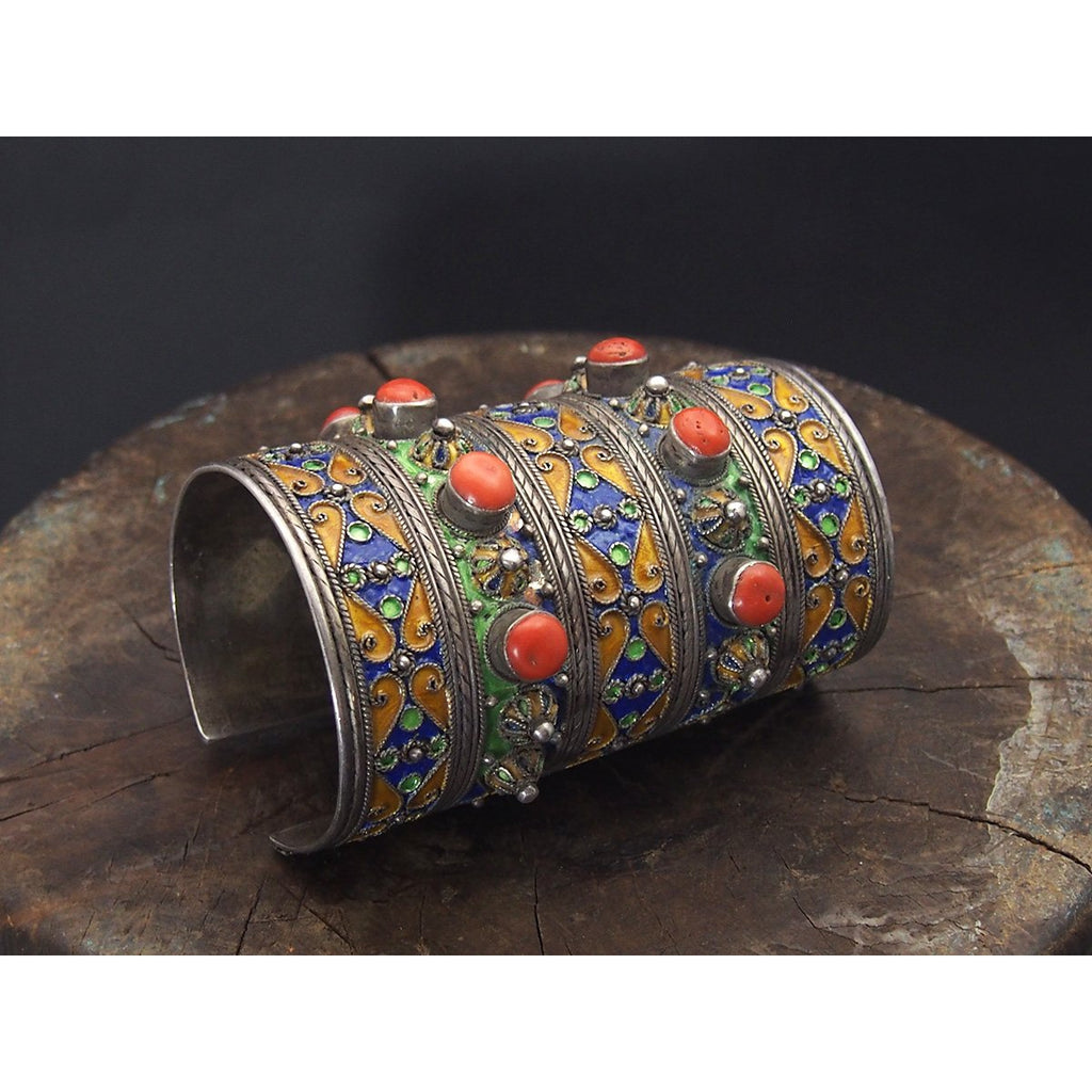 Kabyle Silver Enameled Coral Cuff Bracelet from Algeria