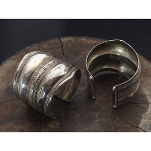 Antique Silver Afghan Cuff Pair
