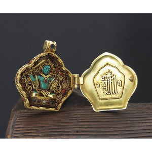 Manjushri and Buddha Amitayus Gold Plated Sterling Silver Gao Shrine Box