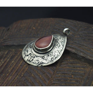 Deer Motif Persian Carnelian Pendant from Mid 20th Century
