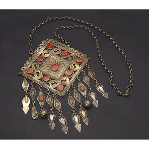 Turkmen Gold and Silver Carnelian Necklace