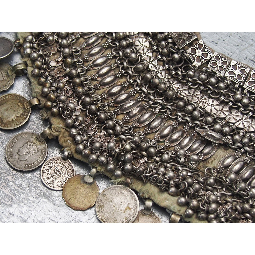 Yemeni Women's Veil/ Dowry Necklace with Old Coins