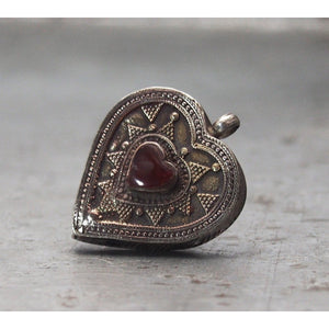 Heart/ Cordiform Stone Inlaid Kazakh Antique Tawiz