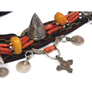 Moroccan Silver/Coral Horned Headpiece