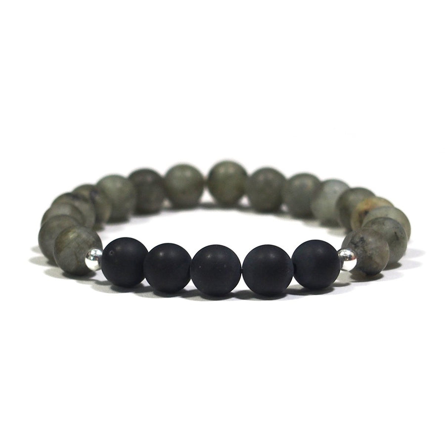 Labradorite and Onyx Bracelet with Matte Finish on Elastic Cord