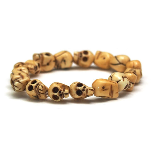 Hand Carved Cow Bone Skull Stretch Bracelet