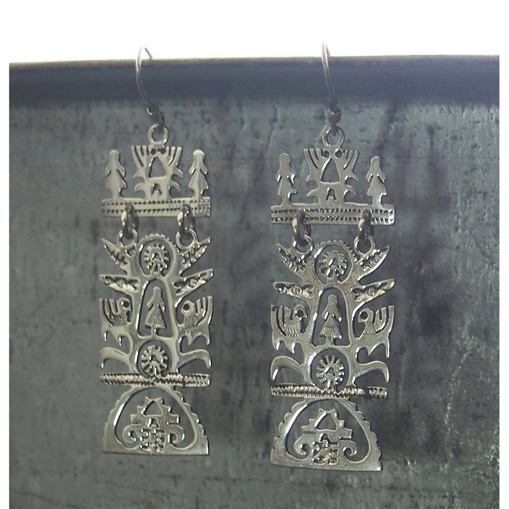 Sterling Silver Mexican Tree of Life Earrings