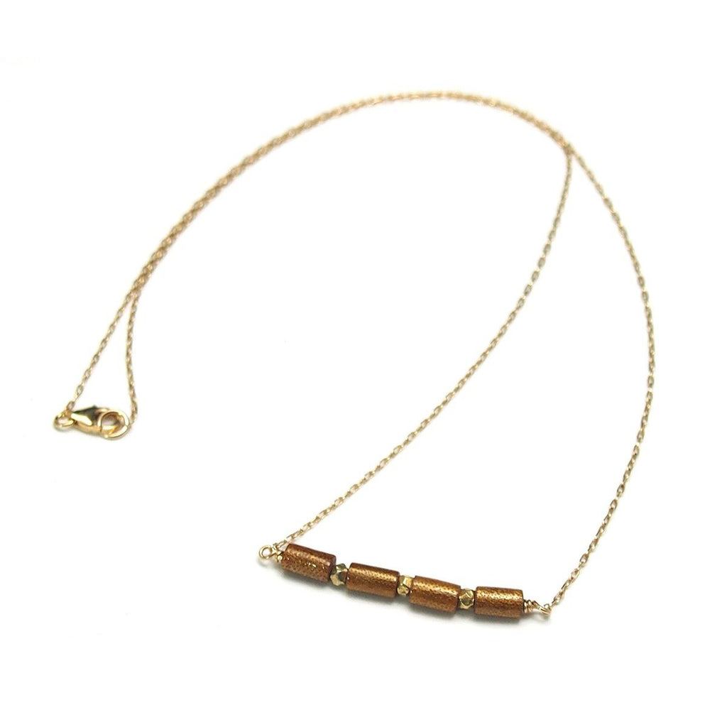 Golden Coral Necklace with Gold Filled Trigger Clasp