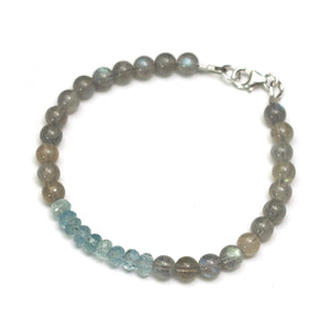 Aquamarine and Labradorite Bracelet with Sterling Silver Trigger Clasp