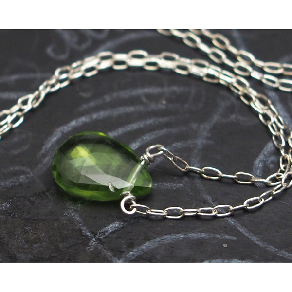 Peridot Necklace on Sterling Silver Chain and Sterling Silver Spring Ring Clasp