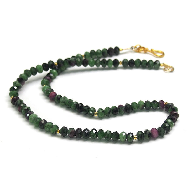 Ruby Zoisite Faceted Necklace with Gold Plated Hook Clasp