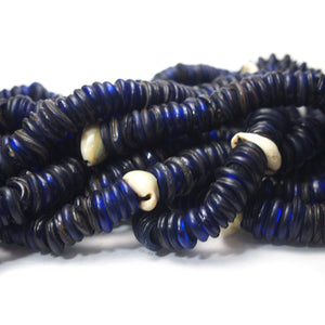 "18th Century German Cobalt Glass ""Donut"" Trade Beads strung with Cowrie Shells from Mali"