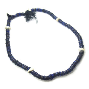 "Brotherly Love 15: Dogon Blacksmith/ ""Hogon"" Status Emblem Iron Necklace with Dutch Cobalt 18th-19th Century Dogon Heirloom Beads and Naga ""Sacred Shank"" Shell Beads and 18th Century German Cobalt Glass ""Donuts"""