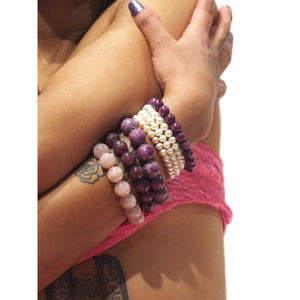 Ruby, Strawberry Quartz, Madagascar Rose Quartz, Charoite and Fresh Water Pear Stretch Bracelet