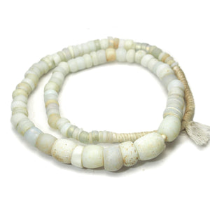 "18th Century Large White Dutch East India Company Wound Dogon ""Egg"" Trade Beads from Mali"