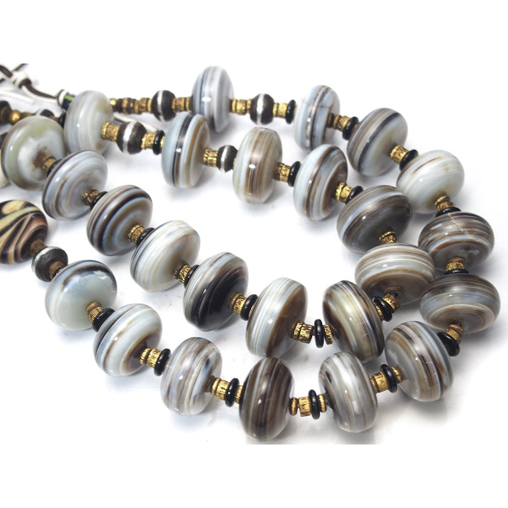 Banded Agate Xtra Large Rondelle Heirloom Beads