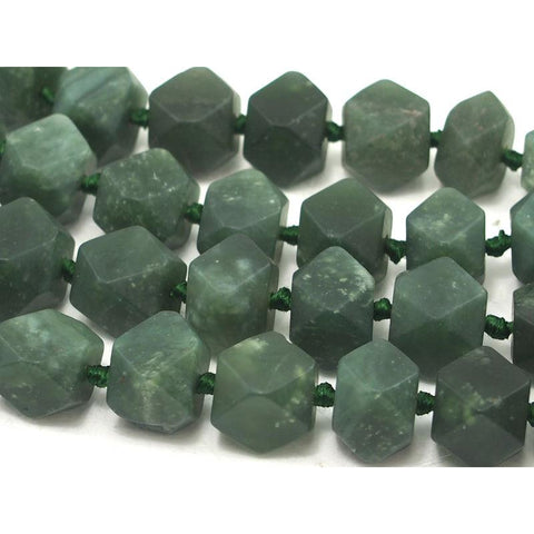Jade (Afghan) Faceted Cube Strand