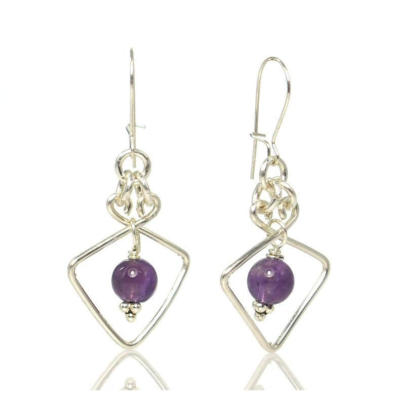 Amethyst Earrings with Sterling Silver Kidney Ear Wires