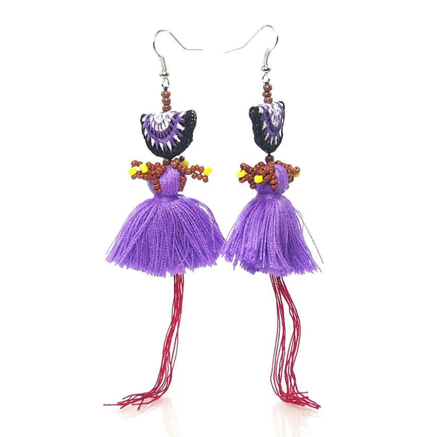 Hill Tribe Crocheted Earrings, D