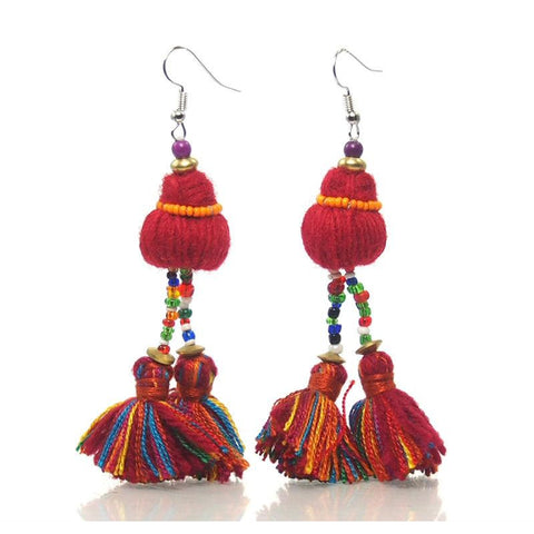 Hill Tribe Tassel Earrings, B