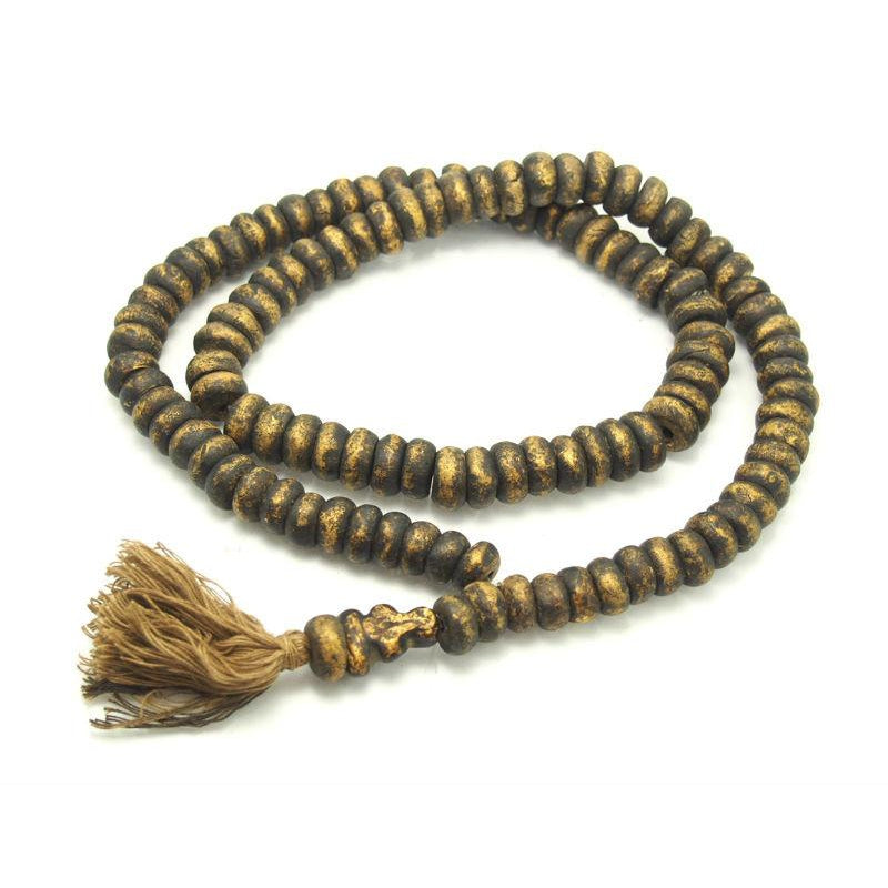 Gold Leaf Terra Cotta Disc Mala