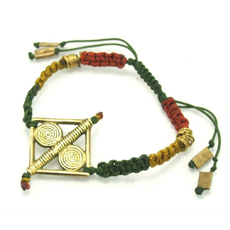 Macrame Adjustable Bracelet with Baoule Style Cast Brass Bead