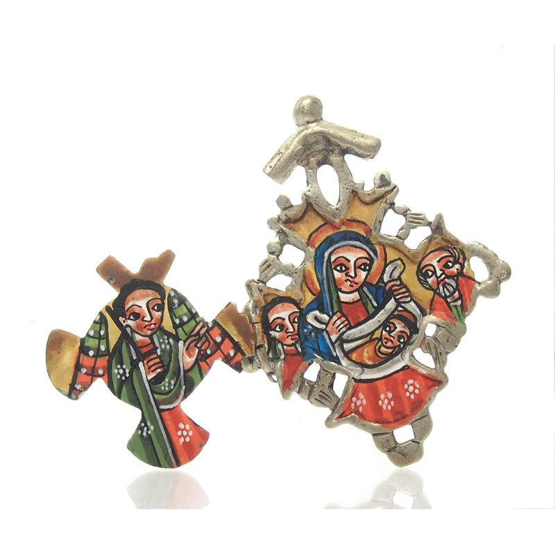 Ethiopian Processional Hand-Painted Icon Cross, Small 1