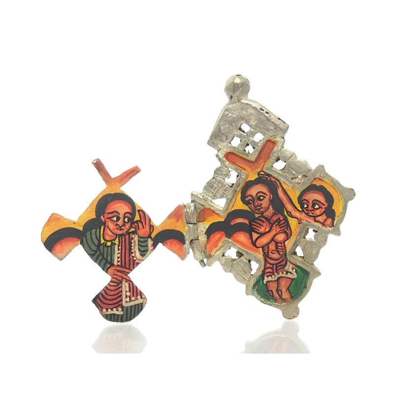 Ethiopian Processional Hand-Painted Icon Cross, Small 2