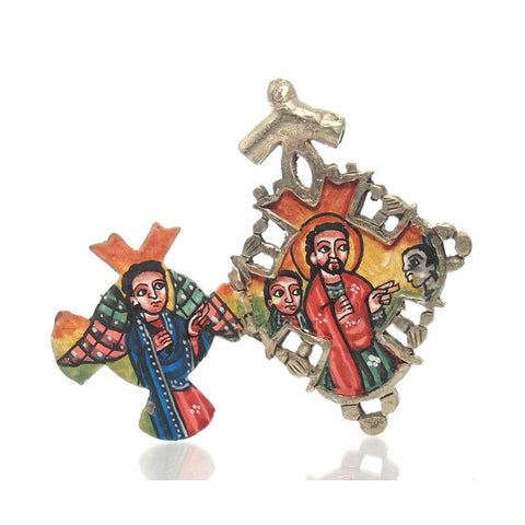 Ethiopian Processional Hand-Painted Icon Cross, Small 3