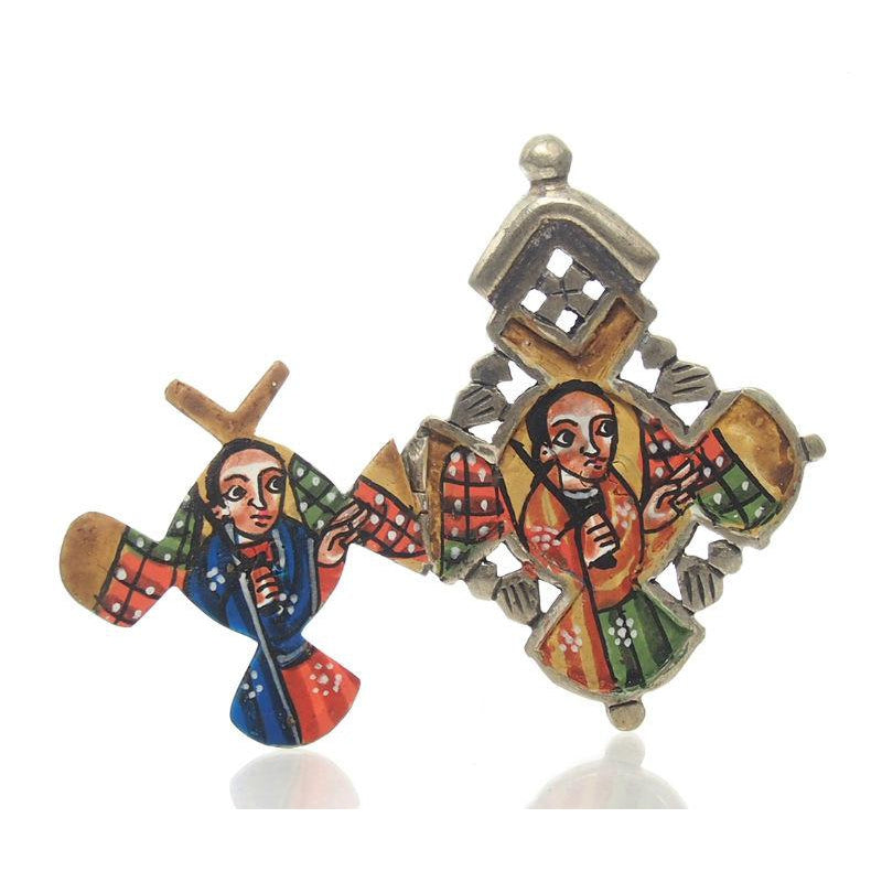 Ethiopian Processional Hand-Painted Icon Cross, Small 6