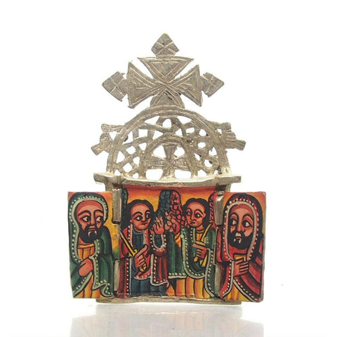 Ethiopian Processional Hand-Painted Icon Cross, M5