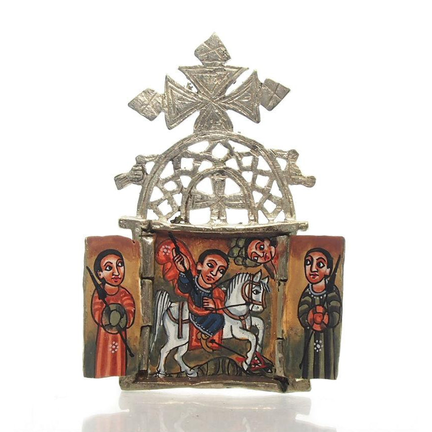 Ethiopian Processional Hand-Painted Icon Cross, M4