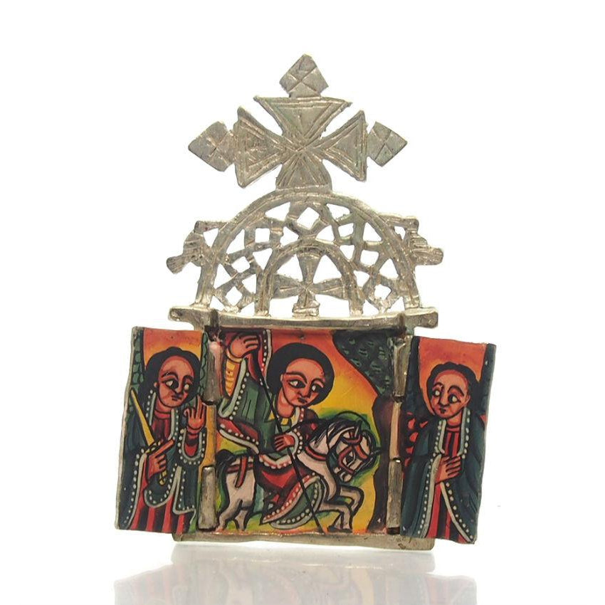 Ethiopian Processional Hand-Painted Icon Cross, M3