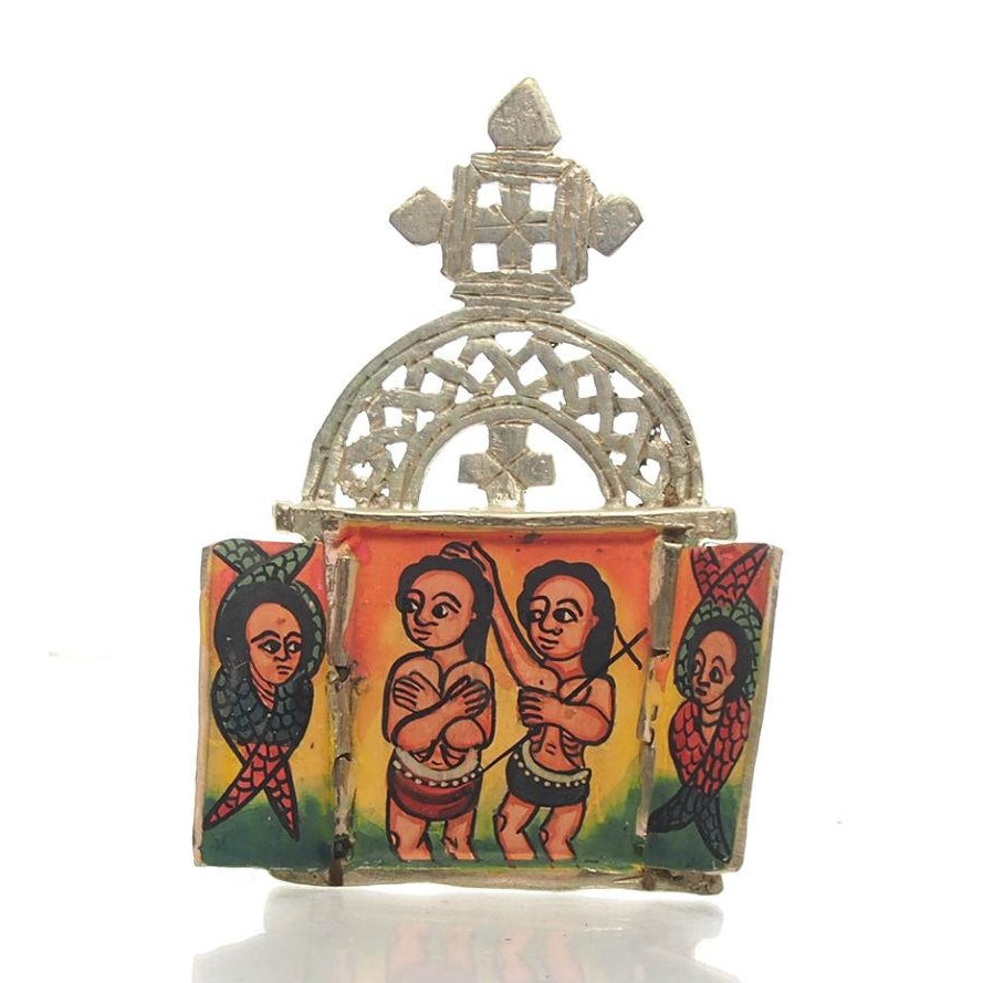 Ethiopian Processional Hand-Painted Icon Cross, M2