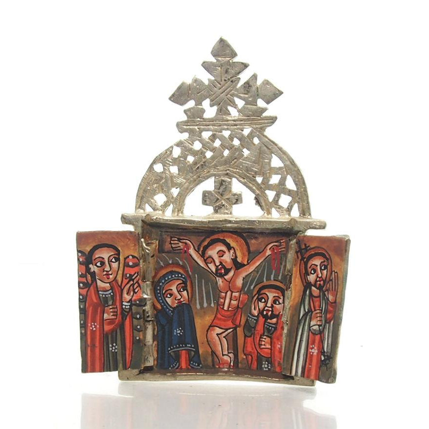 Ethiopian Processional Hand-Painted Icon Cross, M1