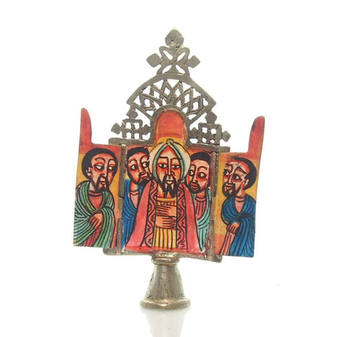 Ethiopian Processional Hand-Painted Icon Cross, M7