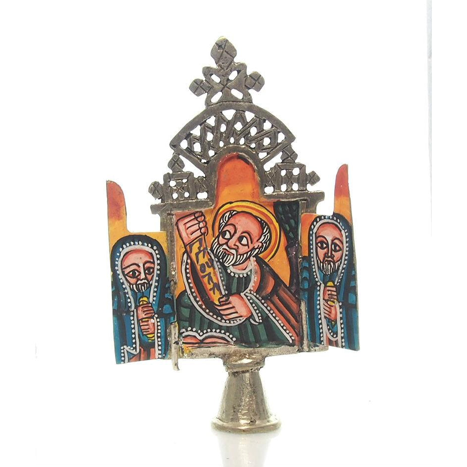 Ethiopian Processional Hand-Painted Icon Cross, M8