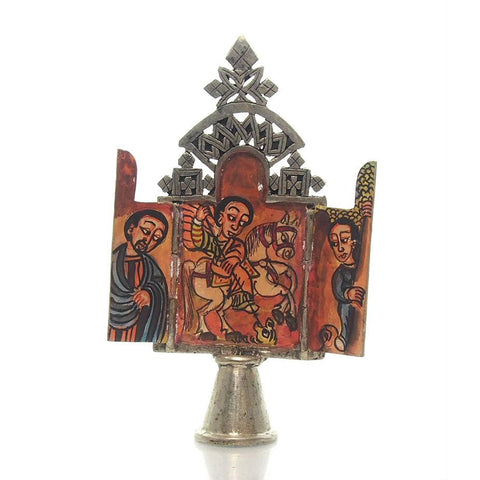 Ethiopian Processional Hand-Painted Icon Cross, M9