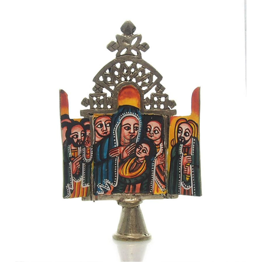 Ethiopian Processional Hand-Painted Icon Cross, M10