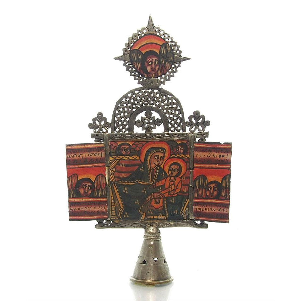 Ethiopian Processional Hand-Painted Icon Cross, L1