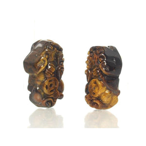 Tiger's Eye Mini Foo Dog Pendants