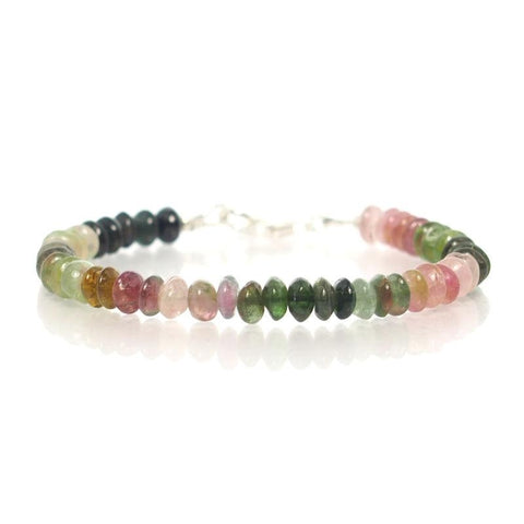 Watermelon Tourmaline Bracelet with Sterling Silver Trigger Clasp