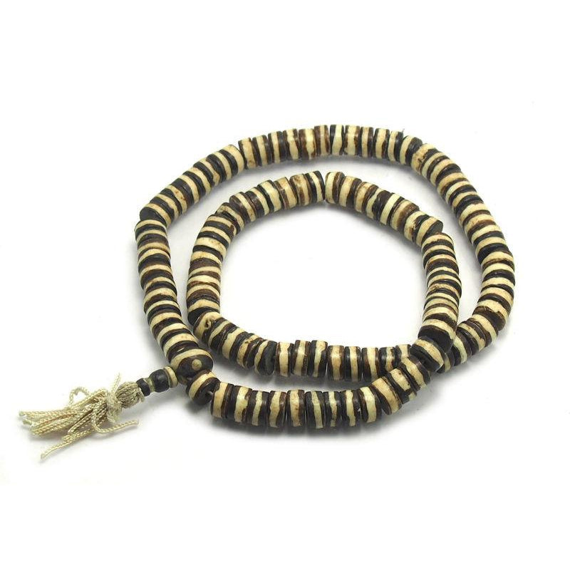 Striped Yak Bone Disc Mala 12mm
